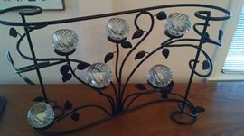 MODERN IRON / GLASS FIREPLACE CANDLE DISPLAY