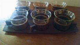 MID CENTURY MODERN TEAK (70'S) COFFEE HOLDER SET...VERY COOL !!