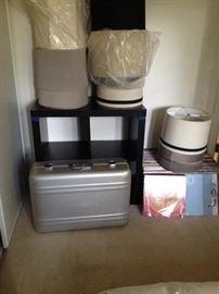 Vynils records, haliburton suitcase, lamp shades