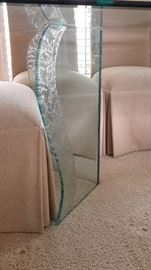 Lane beveled glass dining table with 8 upholstered Lane Venture chairs.  Close up of glass legs. Beautiful!