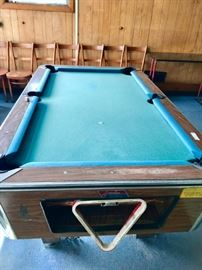 Coin Operated Pool Table Complete with Balls & Sticks