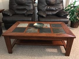 Coffee table with tile inserts.