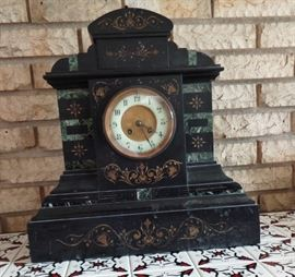 Antique French Inlaid Marble Clock w/original Key - works intermittently, needs a cleaning