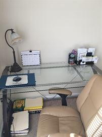 Glass Computer Table with Leather Office Chair.