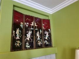 Oriental 4-piece hanging panel