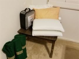 End Table, Green felt cloth, pillows, Heated Blanket