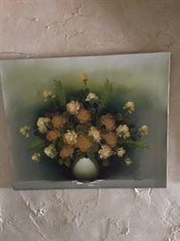 Antique canvas floral painting