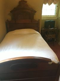 Antique Eastlake Victorian 3/4 bed with mattress. Antique sewing machine cabinet with cast iron base, antique wood chair