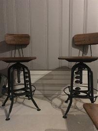 Restoration Hardware gunmetal green Toledo stools adjustable height