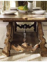 """Hooker Sanctuary trestle farmhouse dining table 88"""" long."""