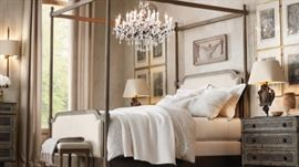 Restoration Hardware king canopy or 4 poster bed interchangeable bed with 2 trellis Louis XVI nightstands