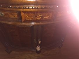 detail of inlay on commode