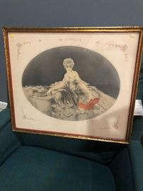 """Louis Icart, etching, """"Love Letters"""""""