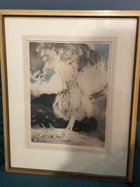 """Louis Icart, etching, """"Spilled Apples"""""""