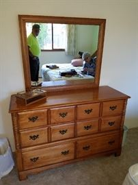 Hard Maple Dresser with Mirror. Very good condition. Maker's Mark