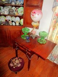 Several corner and end tables and foot stools