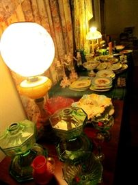 Vaseline glass and converted to electric oil lamps
