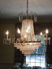 Regency style brass and crystal chandelier