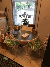 Mid Century Wrought Iron Parlor table with two chairs