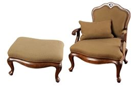 Thomasville French Country Chair and Ottoman