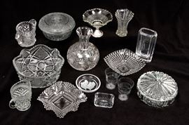 Vintage glass bowls and vases