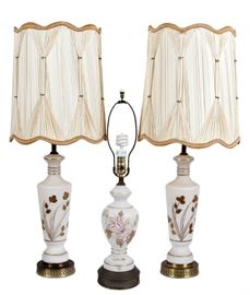 Antique Floral Painted Glass Lamps