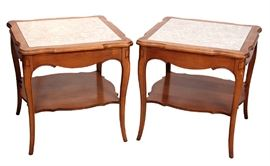 Vintage Cherrywood  End Tables with Faux Stone