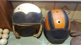 Vintage football helmets Hutch and  Ken Wel