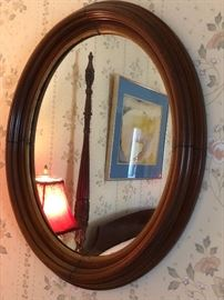 Antique Oval Wood Mirror