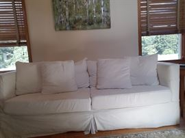 Crate & Barrel slipcover sleeper sofa (queen size) with pillows