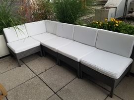 Outdoor rattan sectional with cushions (zip for easy wash)
