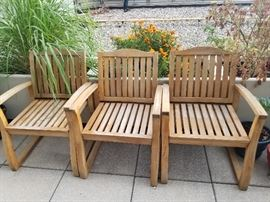 Outdoor teak chairs (6 chairs available)