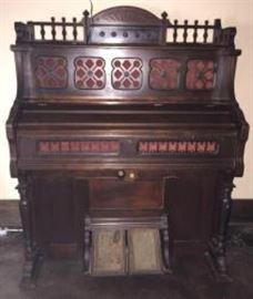 Antique Brattleboro VT J. Estsey and Co. Walnut Pump Organ Model 132516