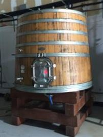 925 Gallon Taransaud Tonnellerie French Foeder with Glycol Chillers Inside on Redwood Stand