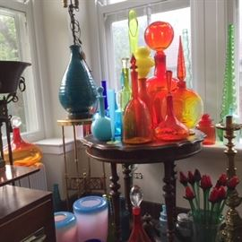 Mid-century modern Blenko art glass, glass flowers, brass pedestals and candlesticks.