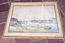 Gilt-framed print depicting the Gamla Stan area of Stockholm, Sweden.