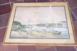 Gilt-framed print depicting the Gamla Stan area of Stockholm, Sweden.