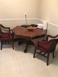 Wood table & 2 chairs
