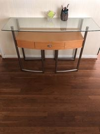Glass top hall console table