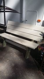 Two outdoor benches, can turn into picnic table.  $55.00