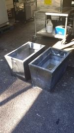 Two large outdoor planters - metal - $35.00
