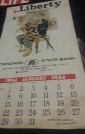 1934 Liberty Standard State Bank Calendar