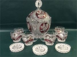 Hofbauer Crystal Byrdes Collection Punch Bowl Cups