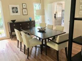Random Harvest Kinsey Dining Table with Ligne Roset French Line chairs designed by Didier Gomez
