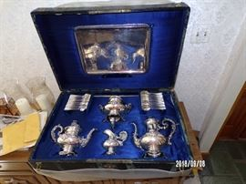 vintage Tea Service - Plated Silver, from Germany and in Original Trunk - main level