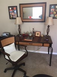 Three piece Matching  Office set Rattan  1. Desk 2.