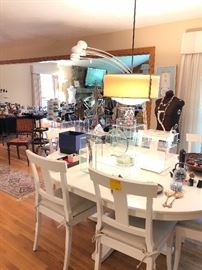White oval table & 6 chairs