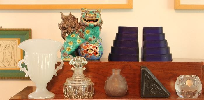 Deco blue glass bookends, glassware, Green Kutani-ware foo dog (one of a pair)