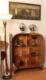 Deco cabinet of glassware, chromed Deco samovar & covered punch server