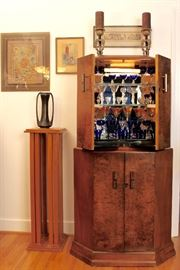 Lighted, mirrored Deco bar cabinet, framed artwork & Chinese embroidery
